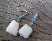 """SALE Turquoise Earrings with White Opal Beads in Sterling Silver - """"Summer Skies Await"""""""