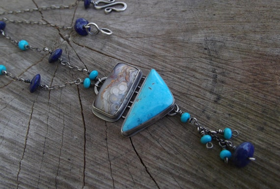 Silver Turquoise Necklace with Agua Nueva Agate and Lapis Lazuli - Art Deco Style Necklace