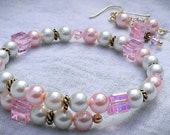 White and Pink Pearl Birthstone 'OCTOBER' Snap-On Bracelet & Earrings - Opal