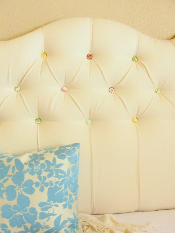 Tufted Headboard - Full size ivory linen with multicolored buttons