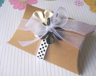 10 Kraft Pillow box - package jewelry wedding party favors