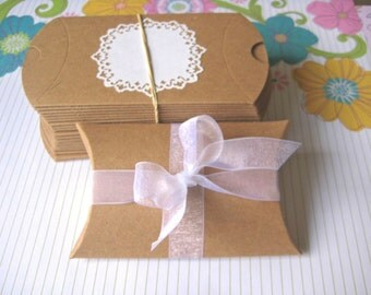 Kraft Pillow box - 10 pcs - package jewelry wedding party favors