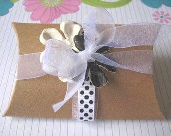 "Kraft Pillow box - 40 pcs 3 1/4 x 3 x 1"" favors gifts wedding shower etsy supplies"