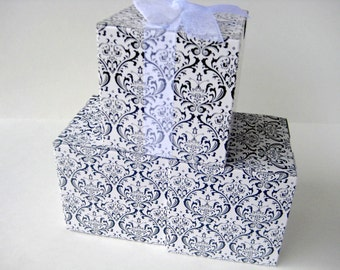20 Black and White Gift Boxes 3x3x3 Wedding Bridal Baby Shower
