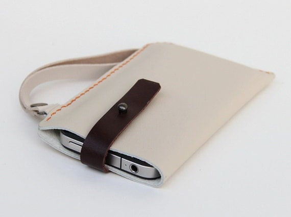 Hand Stitched Leather iPhone case in white