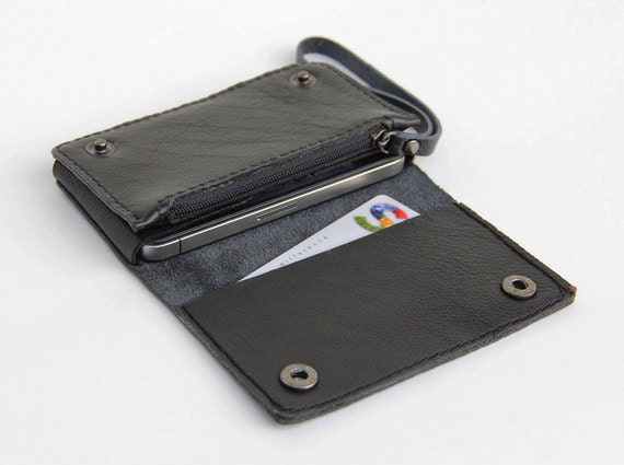 Leather iPhone wallet case with mini zipper in black (For iPhone4/4s)