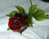 Hand-made Red Crystal Rosebud
