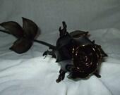 Hand-made Black Crystal Rosebud