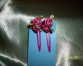 Girls Ribbon Rose Barrette (mauve)