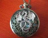 antique silver dragon hollow-out pocket watchgift box package)---P021