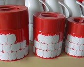 red with white-apple-print canister set