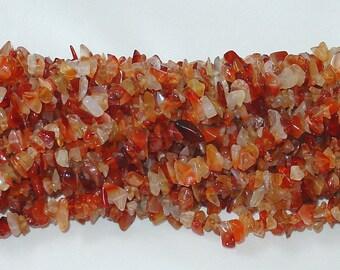 "Carnelian Chip Gemstone Bead - 34"" Strand"
