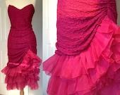 1980s Tadashi Fuchsia Prom Dress Strapless with Gathered Tulle Hem Medium Mermaid