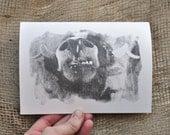 5x7 Yak Art: Original Black & White Photo Transfer on Blank Folded Card (Free Customization)