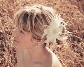 Bridal Feather Hair Piece White Feathers, Rhinestone Center, Fascinator