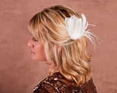 Bridal Feather Hair Piece White Feathers, Pearl, Fascinator
