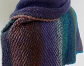 OOAK Reversible Muticolor Handloomed Crocheted Shawl/Scarf Blue/Green/Rose/Teal/Brown/Purple