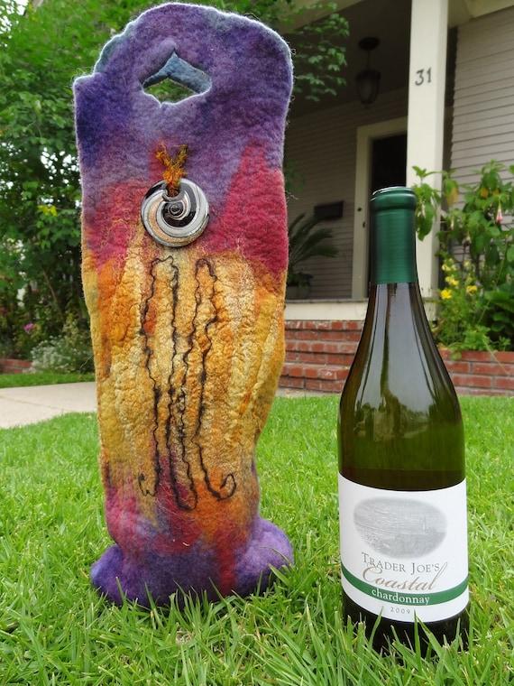 Wool Wine Carrier Boho Spiral Purple Gold Gift