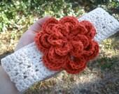 Headband / Earwarmer - Childs BIG Paprika Flower - 100% Cotton - Ready-to-Ship