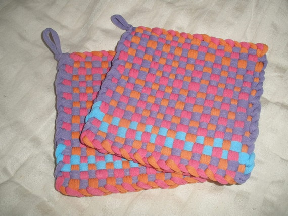 Retro Pot-holder / Hot Pad Set of 2 in Purple, Orange, Pink & Turquoise Nylon