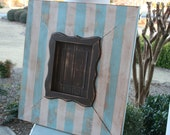 Handmade Distressed Wooden Frame 24.5 x 22.5 w/ Scallped Trim for a 5x7 picture