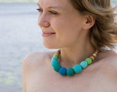 Martinique Crochet Necklace - natural jewelry, mommy / nursing necklace - blue, emerald, turquoise, lime green, degrade - FrejaToys