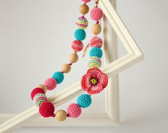 Spring Flower Nursing Necklace Teething Necklace - Pink Blue - Shower Gift Breastfeeding Babywearing FrejaToys