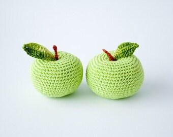 Crochet apple (1 pc) - teacher gift, back to school, eco friendly kids toy, kitchen decoration - FrejaToys