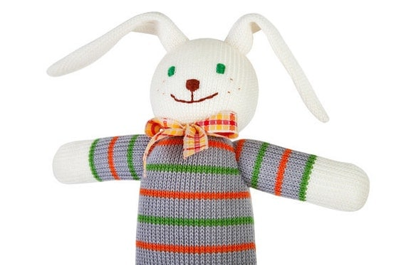 Benito the Bunny+ GIFT, knitted doll - knitted animal, rabbit, Easter gift for boys and girls from 3 till 99 years old - FrejaToys