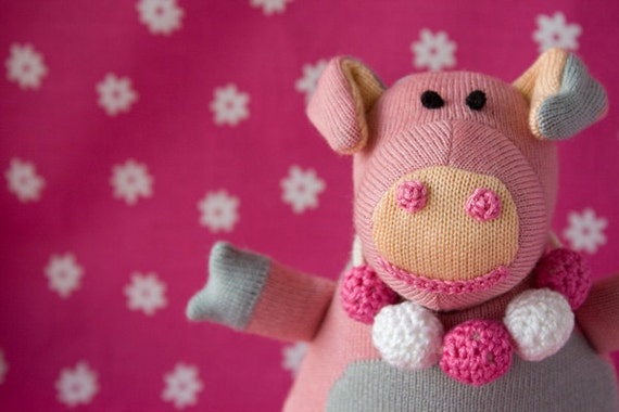 Charlotte the Piggy, knitted doll - cheerful gift for boys and girls from 3 till 99 years old