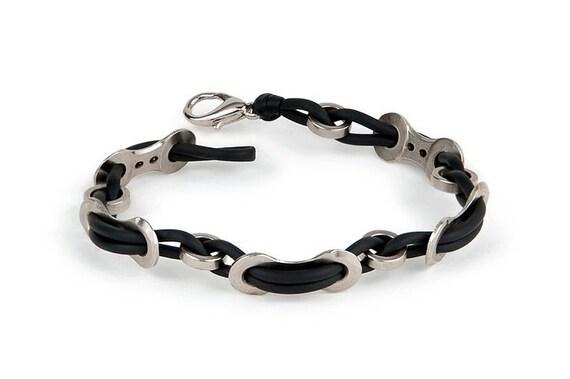 "Cyclist Weaved Bracelet - Bike chain link and rubber bracelet 7"""