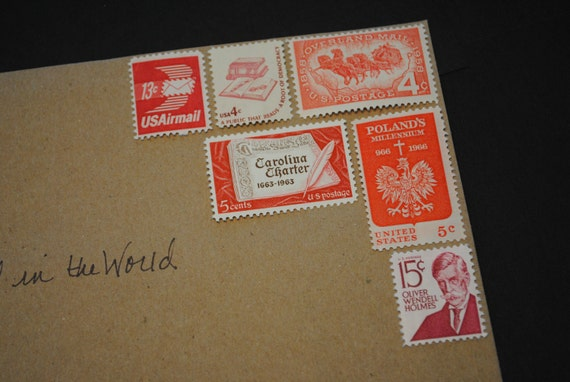 Unused Vintage Postage Stamps - Red All Over, Great for mailing Valentines