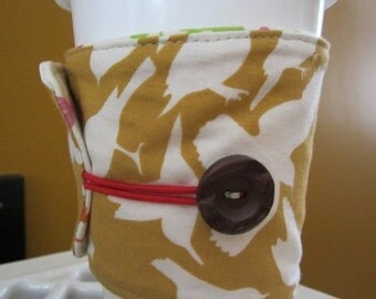 Reversible Birds and Butterflies Coffee Cozy