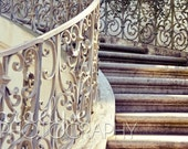 Sweeping Stair Fine Art photograph (5x7 print with 8x10 mat) also available in larger sizes - elegant graceful old fashioned staircase