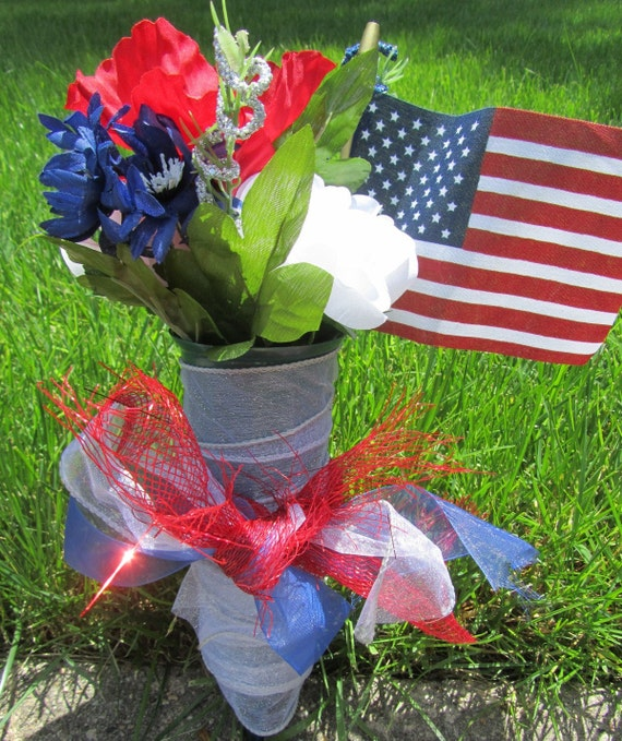 Patriotic Cemetery Arrangement - Red, White, Blue Silk Flowers with Flag, Bow, and Ribbon