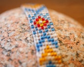 Handmade Woven Beaded Red & Blue Diamond Tribal Native American Style Bracelet