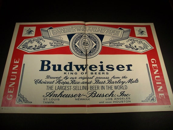 VINTAGE BUDWEISER BEER 1965 Double Page Original Vintage Magazine Advertisement Bar Man Cave Decor Ready To Frame