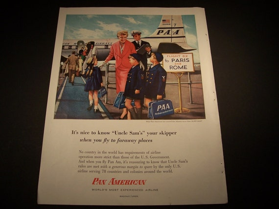 1956 PAN AMERICAN  ADVERTISEMENT Original Vintage Magazine Ad Travel Airlines Airplane Ready To Frame