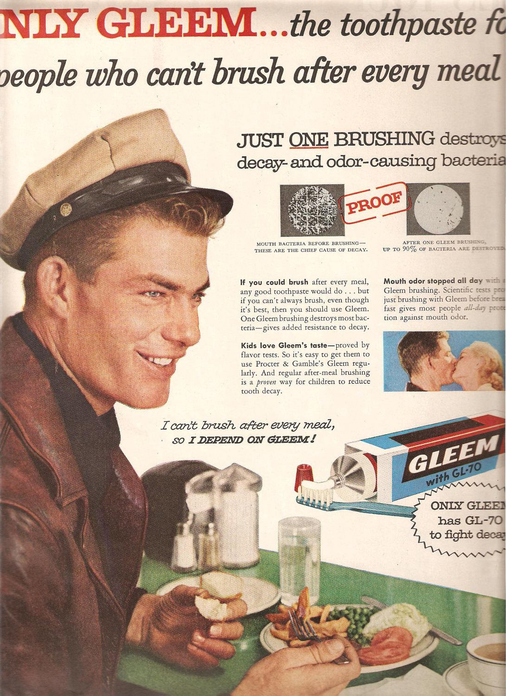 1956 GLEEM TOOTHPASTE ADVERTISEMENT-Vintage Advertising