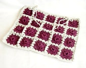 Crochet Pillow, Handmade Pillow, Gift for mom, Home Accessories, Beautiful Decorative Crochet Square Pillow, Purple and Silvery white