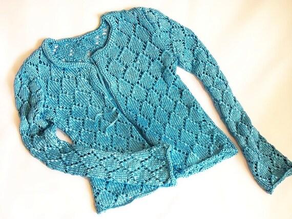 Handknitting Floss-Silk  fabric, Unique, Fashionable Blue Cardigan, OOAK- Summer cardigan - Spring cardigan