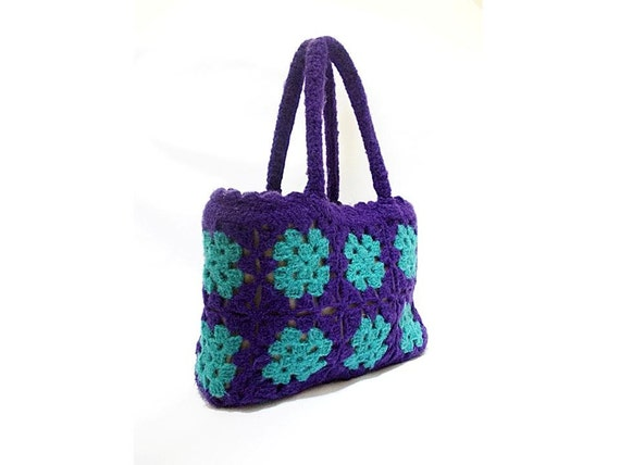 Granny Square Bag- Useful and Fashionable Crochet Bag- Handmade bag- Crochet purse- Purple bag- Tote- Unique crochet tote- Remarkable bag