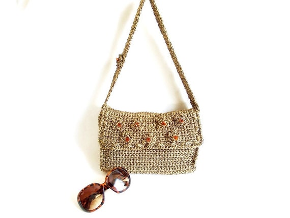 FREE SHIPPING-Crochet Handmade Bag- Brown Tote Bag- Crochet Bag- Stylish Bag- Elegant Tote- Handbag with Flower Embelishment- Unique Bag