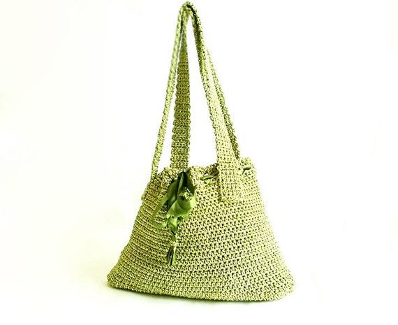 Crochet Handmade Bag- Green handbag- Stylish Bag- Phone,Ipad,Netbook,Book,Macbook- Elegant tote- Unique crochet bag- Useful Pouch bag- OOAK