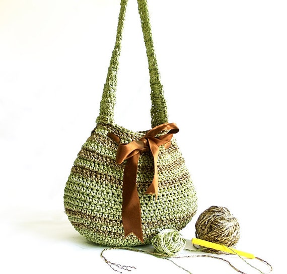 Beautiful Crochet Handbag- So Cute Bag- Midi Bag- Green Bag- Handmade handbag- ipad bag- Unique Pouch- Stylish handbag- Useful Handbag OOAK
