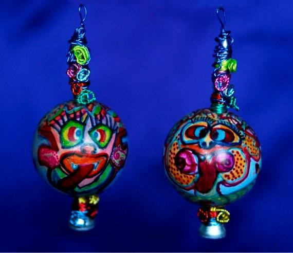 OOAK Kooky Neon Bright CAKKY CREECHURZ Ball Earrings