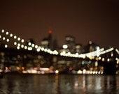 Brooklyn Bridge photo, bokeh lights, New York Photography - 8x10 fine art photograph