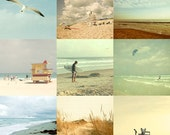 Ocean photos, Beach Photography, Pastel Colors, Retro, Vintage, Faded, Nostalgia - set of nine 5x5 fine art photographs