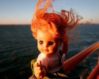 Doll photo, New York Photo, kitsch photo, riding the Staten Island Ferry - bright colors, NYC  - fine art photograph