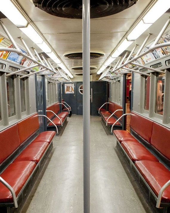New York Antique Subway car photo, New York Photography, antique NYC subway sign, vintage sign - fine art photograph